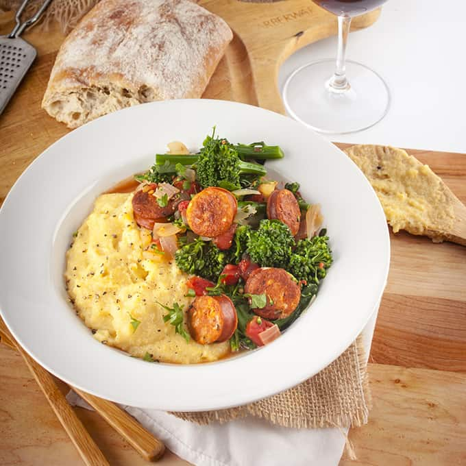 Broccolini and Chicken Sausage over Polenta Recipe