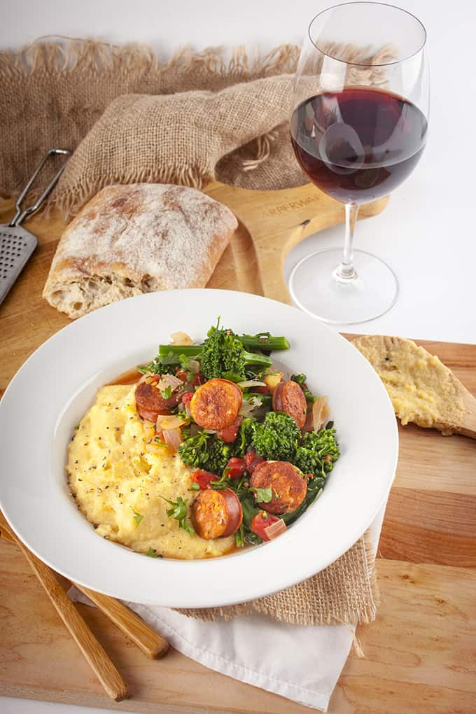 Chicken sausage and broccolini over polenta