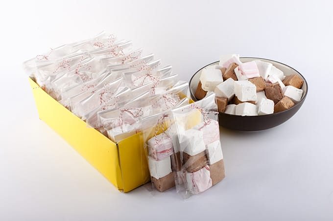 Chocolate, vanilla, and peppermint marshmallow gift bags