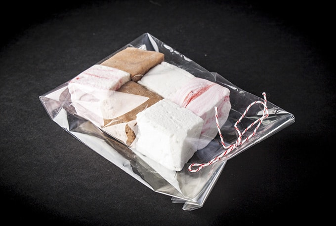 Homemade marshmallow gift bags