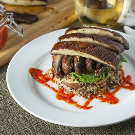 Quinoa and Portabello Mushrooms Stacks with Roasted Red Pepper Coulis