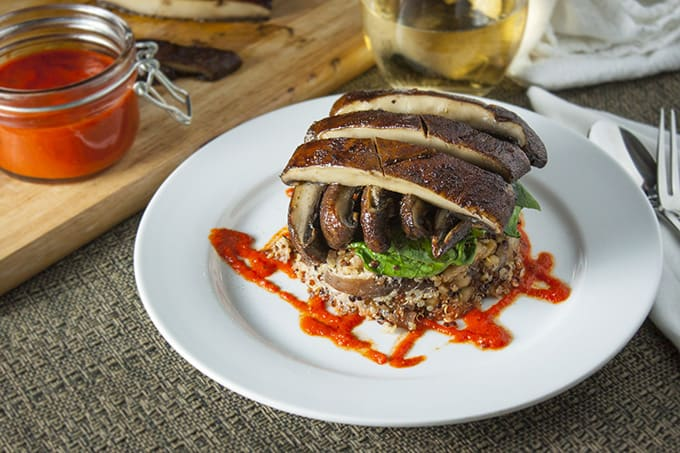 Quinoa and Portabello Mushroom Stack with Red Pepper Coulis