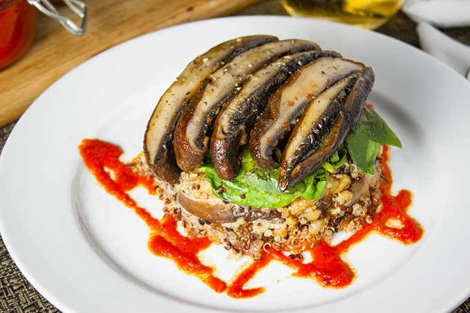 Quinoa and Portabello Mushroom Stack with Roasted Red Bell Pepper Coulis