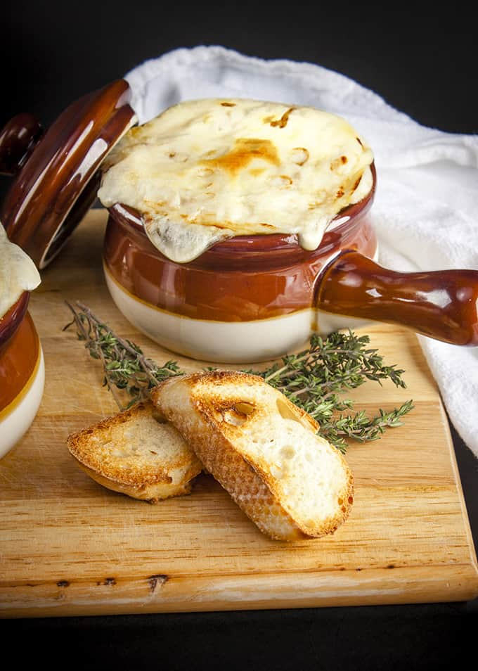 Reduced calorie and vegetarian French Onion Soup is as delicious as the traditional