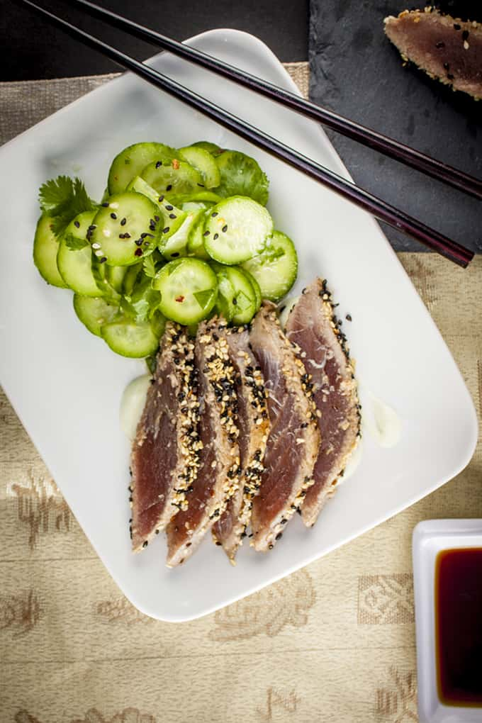 Light and healthy sesame-crusted Ahi tuna
