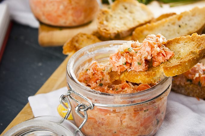Potted salmon rillettes served on toast