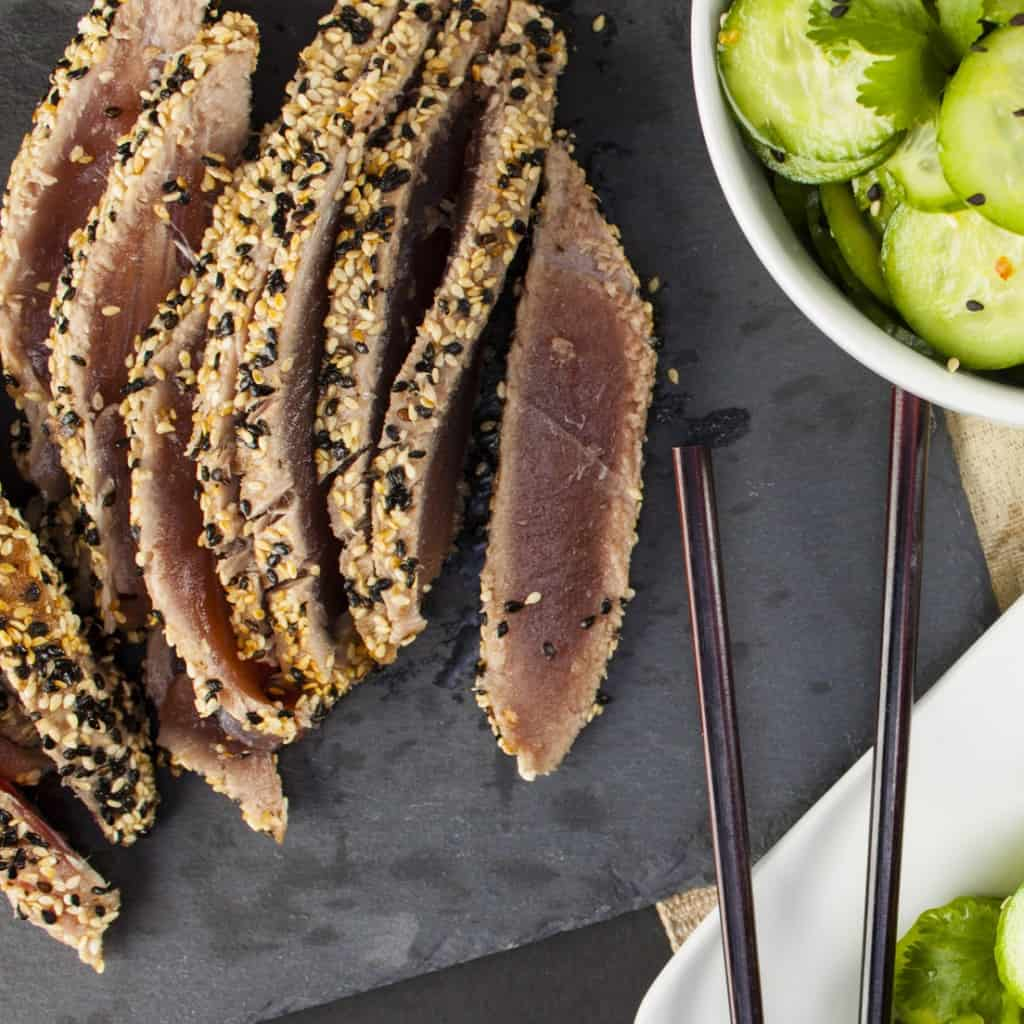 Sesame-Crusted Seared Ahi with Wasabi Crème Fraîche