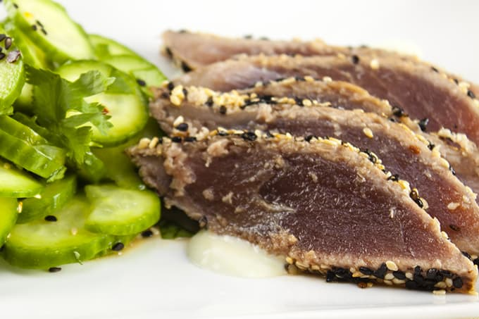 Sesame-crusted Ahi tuna with wasabi creme fraiche