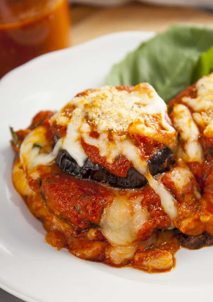 Baked eggplant Parmesan stacks are healthy, cheesy and easily made vegan