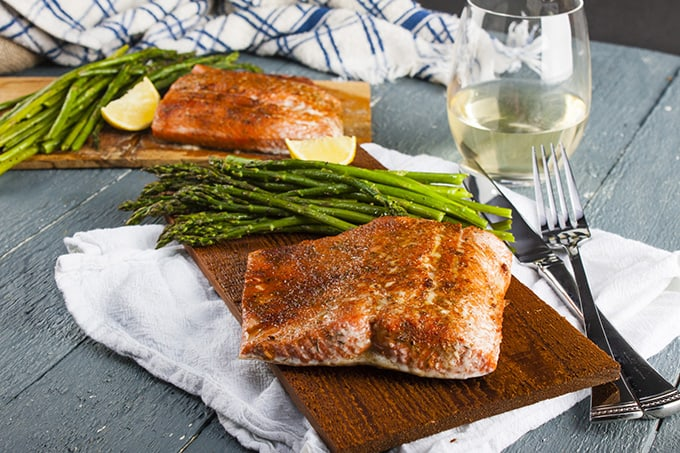 Cedar-plank salmon cooks up perfectly in the oven