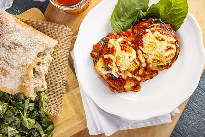 Light and healthy eggplant Parmesan stacks