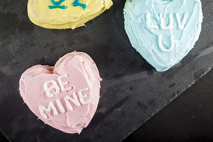 Make these adorable Conversation Heart Cakes for Valentine's