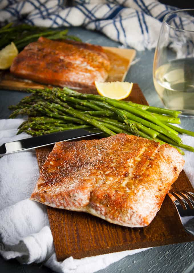 Perfectly cooked cedar plank salmon in the oven