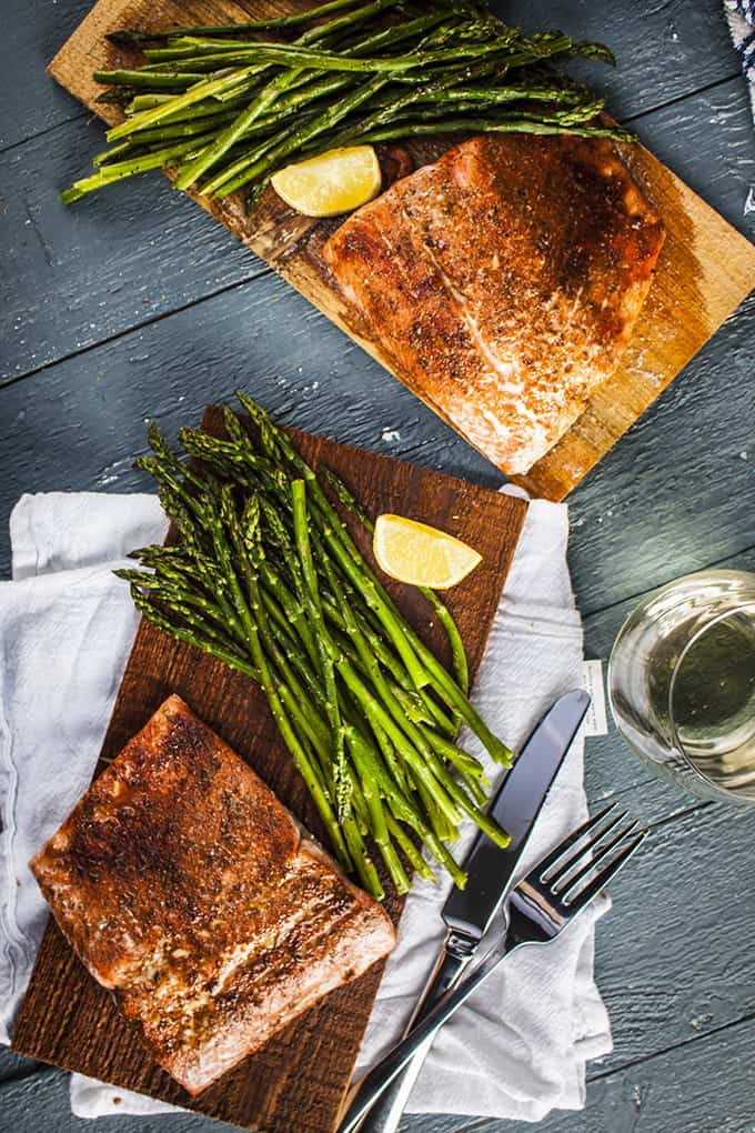 Simple but elegant cedar-plank salmon in the oven