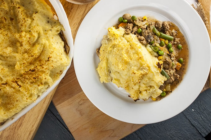 This turkey Shepherds Pie is low calorie comfort food