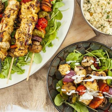 Grilled Moroccan Chicken and Vegetable Skewers with Yogurt Dill Sauce