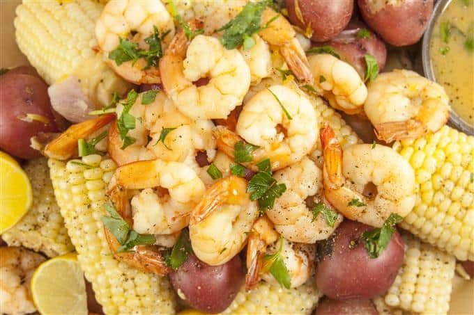 Easy at home Shrimp Boil- Shrimp, potatoes, and corn in a delicious sauce