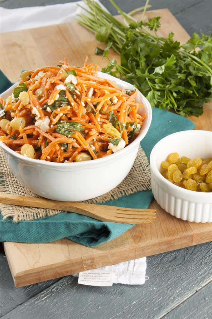 Simple Moroccan Carrot Salad with Harissa Lemon Dressing