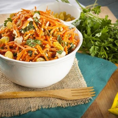 Spicy Moroccan Carrot Salad with Harissa Lemon Dressing