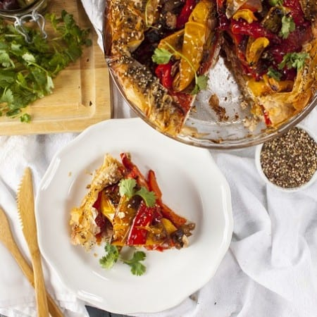 Roasted Pepper and Feta Filo Pie