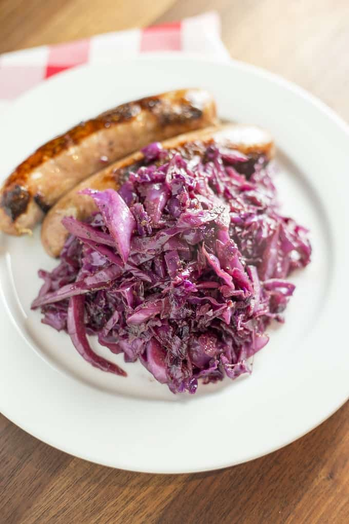 Braised Red Cabbage with Brats