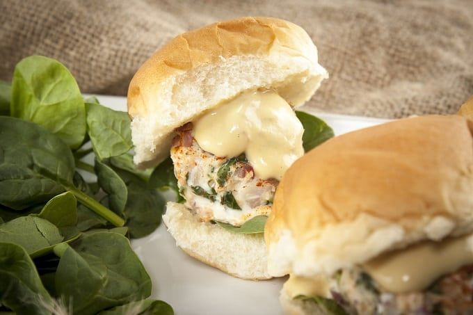 Salmon-Crab Sliders with Zesty Creole Mustard Sauce