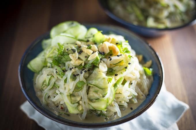 Lightened-Up Sichuan Shirataki & Cucumber Sesame Noodle Salad
