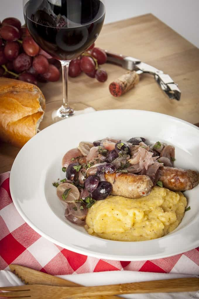Simple and Rustic Italian Sausage with Grapes is so easy but so delicious