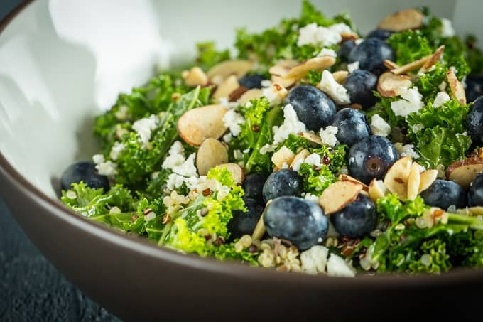 Filling and Fresh Blueberry, Kale, Quinoa Salad