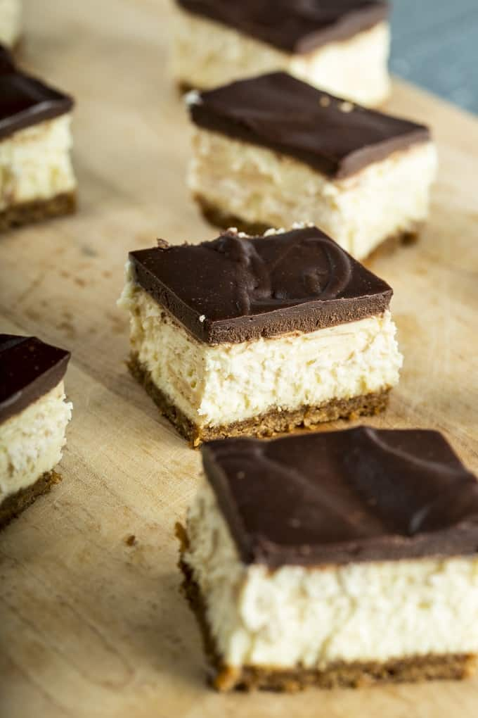 Luxurious and Decadent Cheesecake bars with Chocolate Ganache Topping