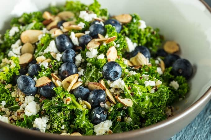 Summery Bluebery, Kale, and Quinoa Salad