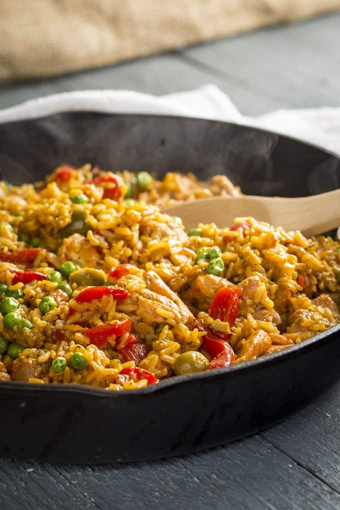 This Arroz con Pollo goes from pantry to table in just 20 minutes!