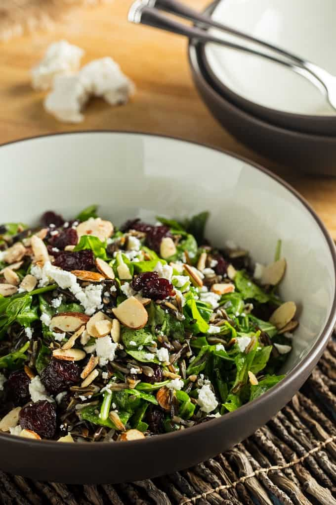 The ultimate picnic salad - wild rice, sour cherry and arugula