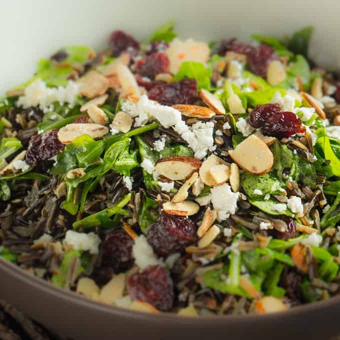 Wild rice, arugula and sour cherry salad with feta