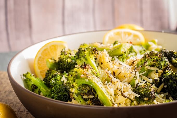 Roasted Broccoli and Orzo with Lemon and Olive Oil