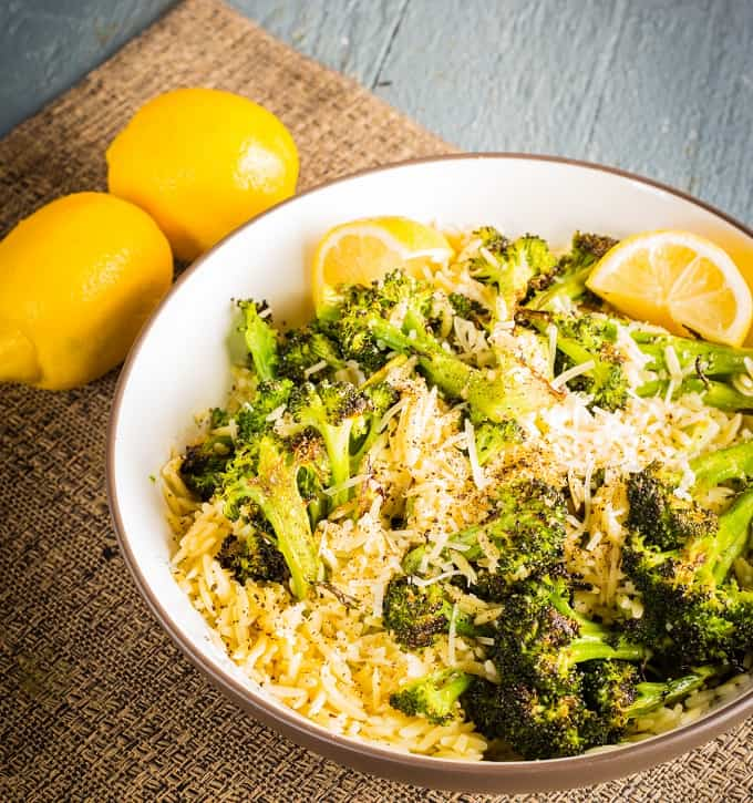 Roasted Brocooli with Lemony Orzo