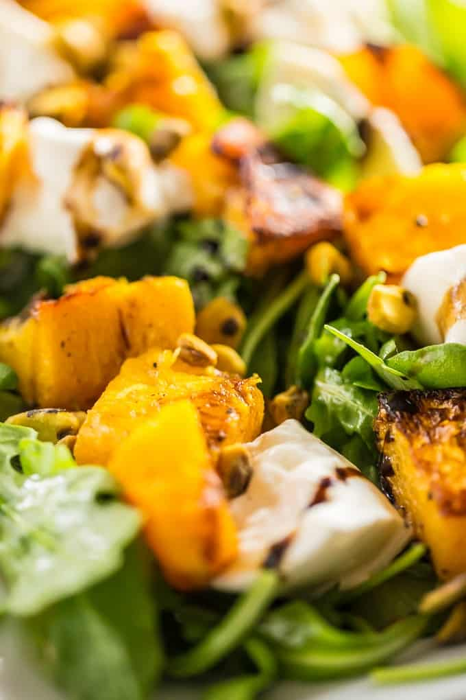 Butternut squash with burrata and arugula