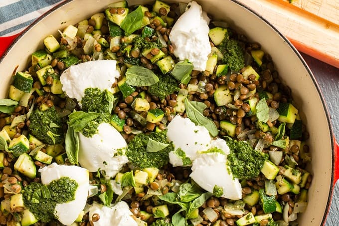 Lentils with burrata and basil vinaigrette