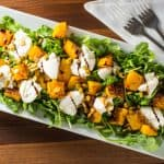 Roasted butternut squash with burrata and arugula