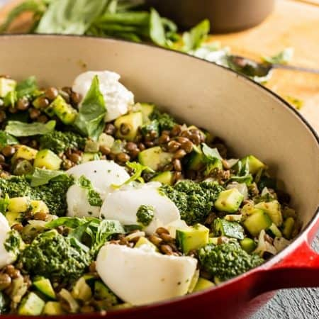Warm Lentil Salad with Burrata and Basil Vinaigrette