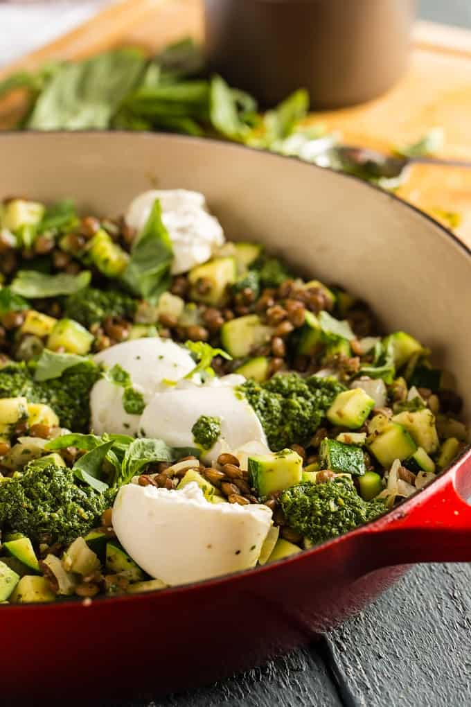 Warm lentil salad with burrata and pesto
