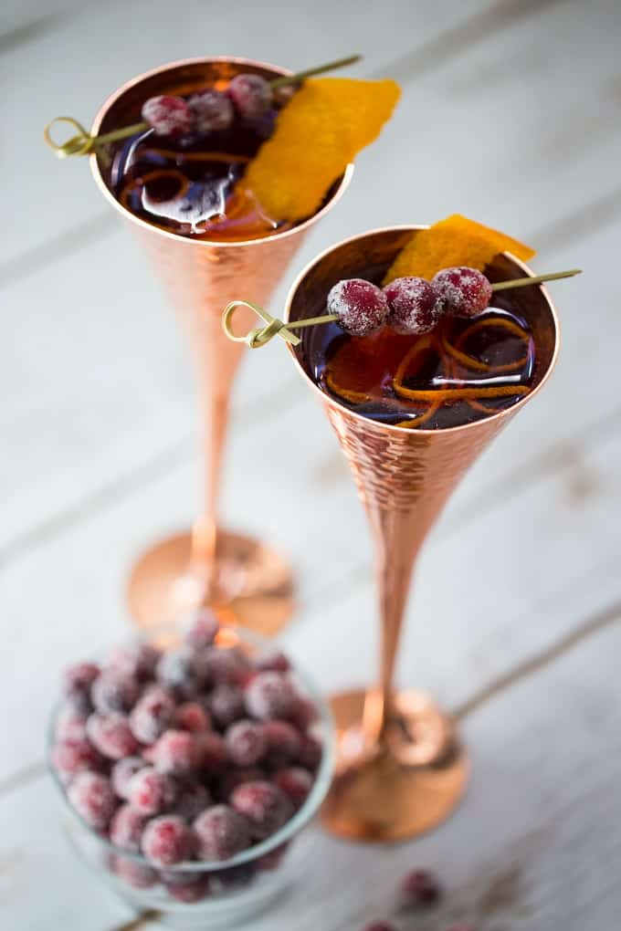 Cranberries and orange make for a festive twist on the French 75