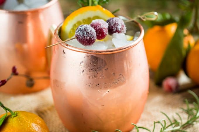 Holiday moscow mule for Christmas or Thanksgiving