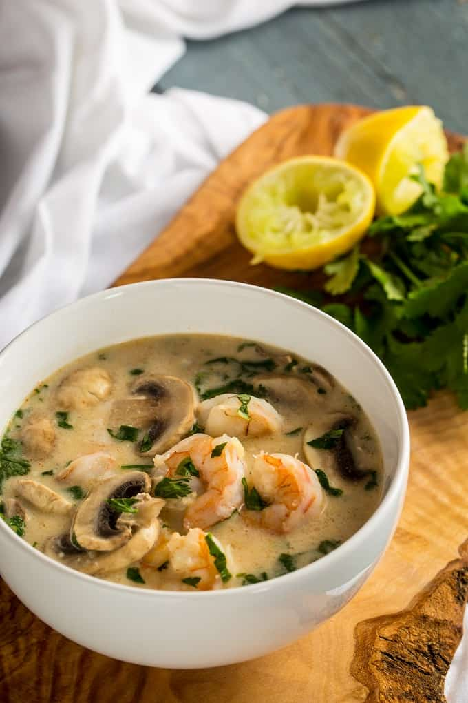 Light but hearty Thai Cocout Shrimp Soup hits your Keto, Paleo and Whole30 goals