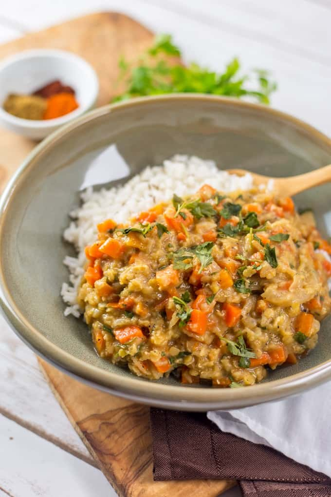 This spicy carrot and red lentil ragout is a vegan meal everyone will love.