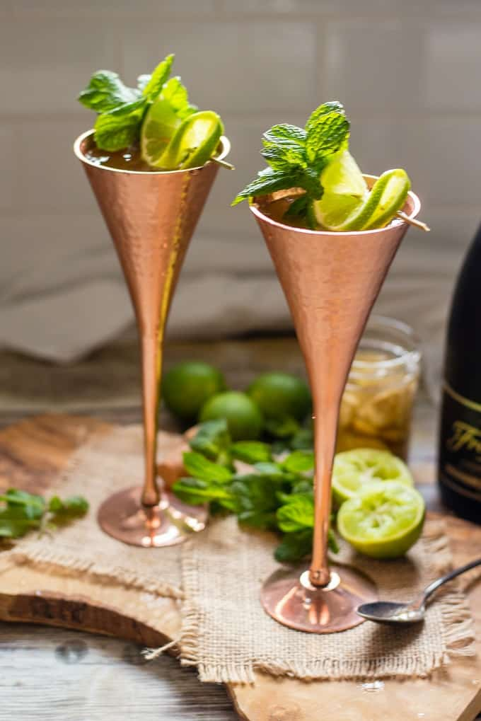 Champagne mule with fresh lime, mint, and homepade ginger syrup will be the hit of your summer parties