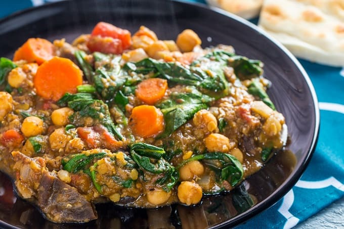 Garbanzo bean and apricot Moroccan stew.