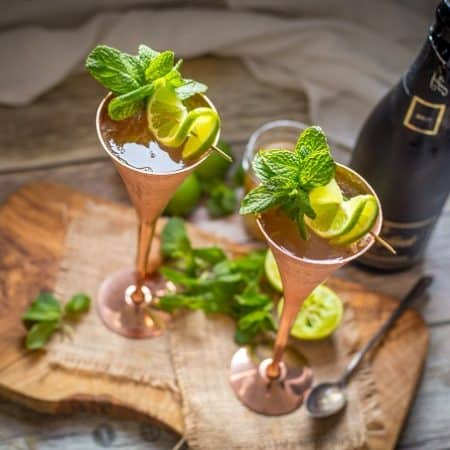 Champagne Mule with Homemade Ginger Syrup