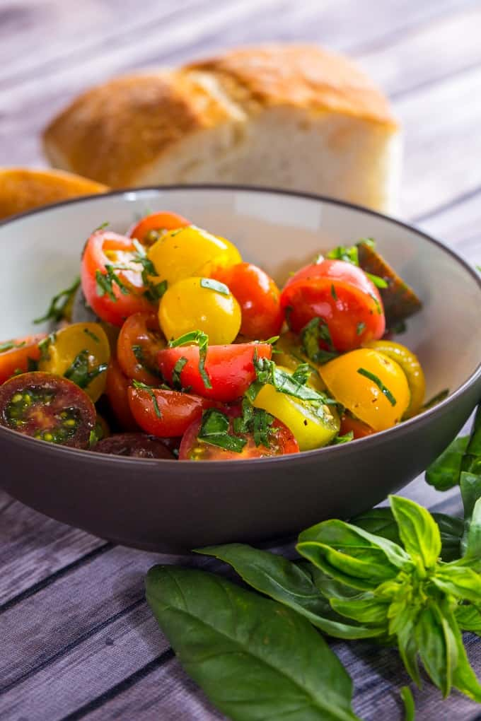 Super simple heirloom tomato summer salad is the perfect summer side