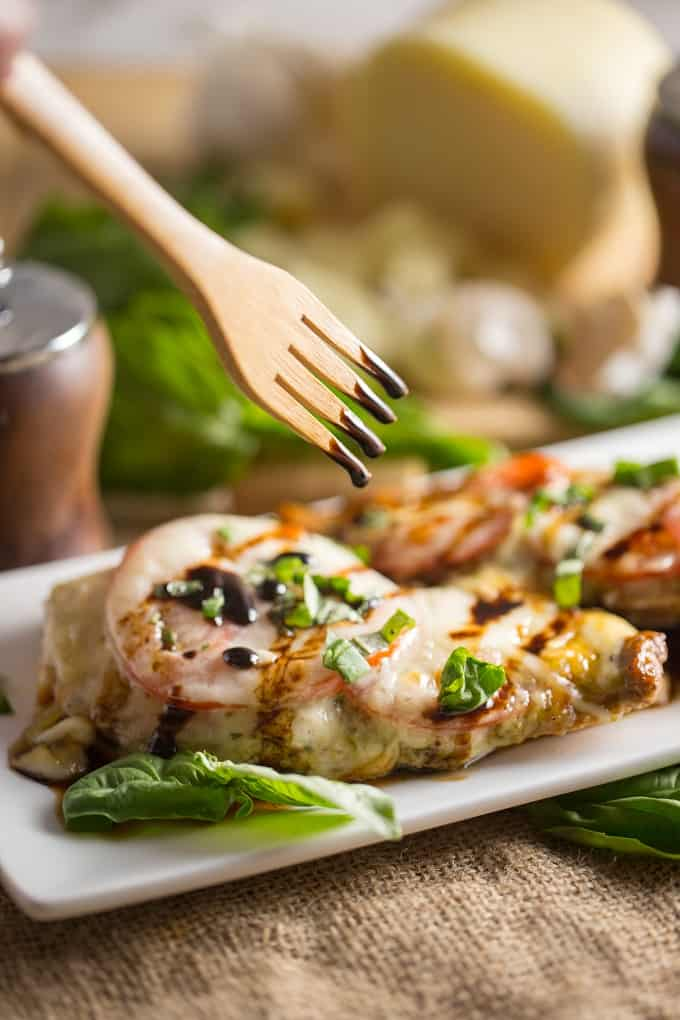 Weeknight caprese chicken with balsamic glaze